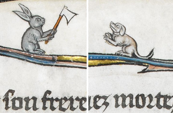 medieval manuscript image of a rabbit with an axe and a dog