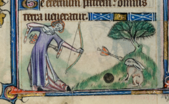 a woman shoots an arrow at a hare