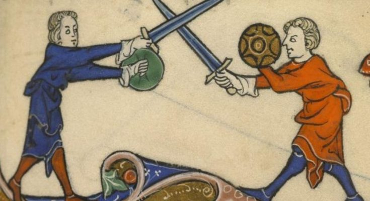 sword and buckler fight from medieval manuscript
