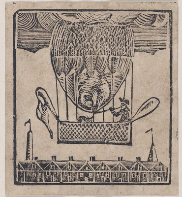 woodcut of what appears to be a hot air balloon