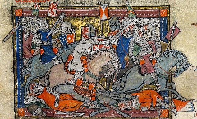 The Rochefoucauld Grail, about 1315, depecting fighting forces on horseback