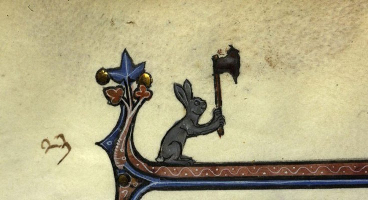 Illumination of a rabbit with a large axe held in the air, Paris, Bibl. de la Sorbonne, ms. 0121, f. 023